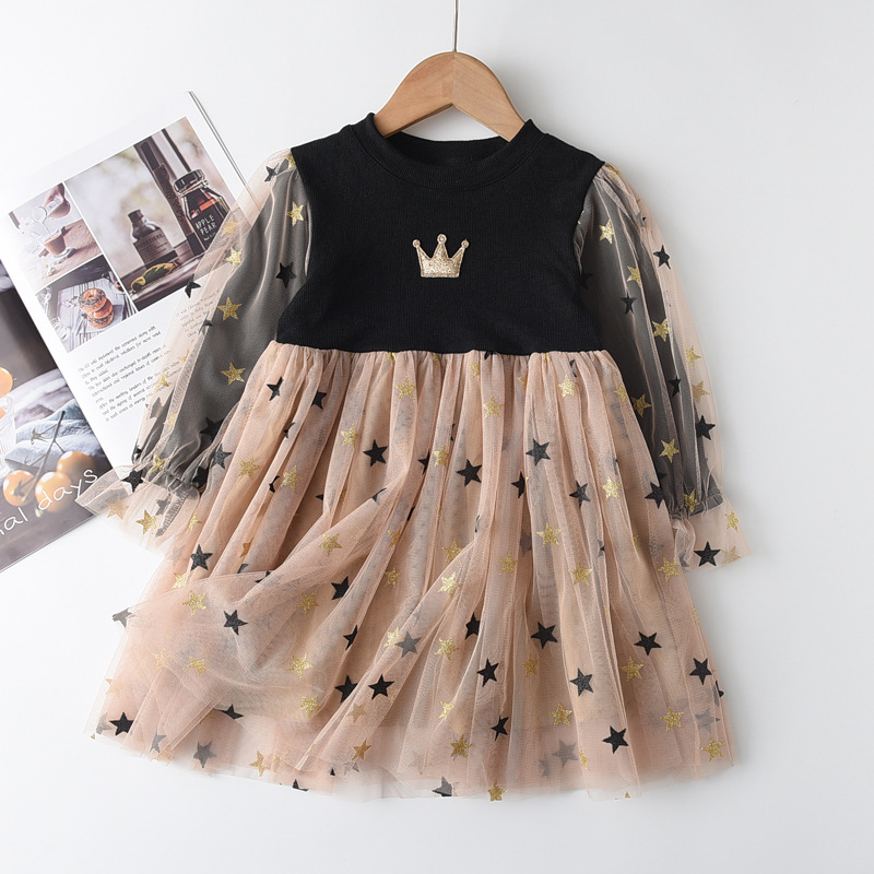 Toddler Girl Tulle Puffy Sequins Stars Crown Long Sleeve Knit Tutu Dress