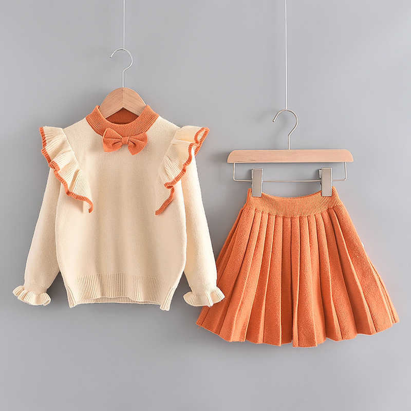 Girl Knit Ruffle Long Sleeve Sweatshirt and Pleated Skirt Clothes Set Outfit