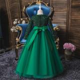Girl Sequins Long Sleeve Bowknot Tutu Maxi Long Sleevs Gown Dresses