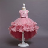 Girl Gold Sequins Flowers Embroidery Tutu Princess Gown Dresses
