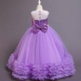 Girl Sequins Bowknot Princess Sleeveless Mesh Tutu Fluffy Gowns Dresses