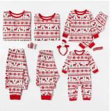 Christmas Family Matching Sleepwear Pajamas Sets Red Deers Trees Printing Stripes Sets