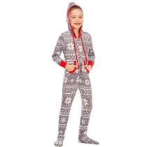 Toddler Kids Boys and Girls Christmas Sleepwear Prints Snow Onesie Jumpsuit Pajamas Set