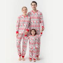Christmas Family Matching Sleepwear Pajamas Red Deers Trees Graph Printing Strips Sets