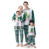 Christmas Family Matching Sleepwear Cute Dinosaur Slogan Tops And Deer Printing Stripes Pants