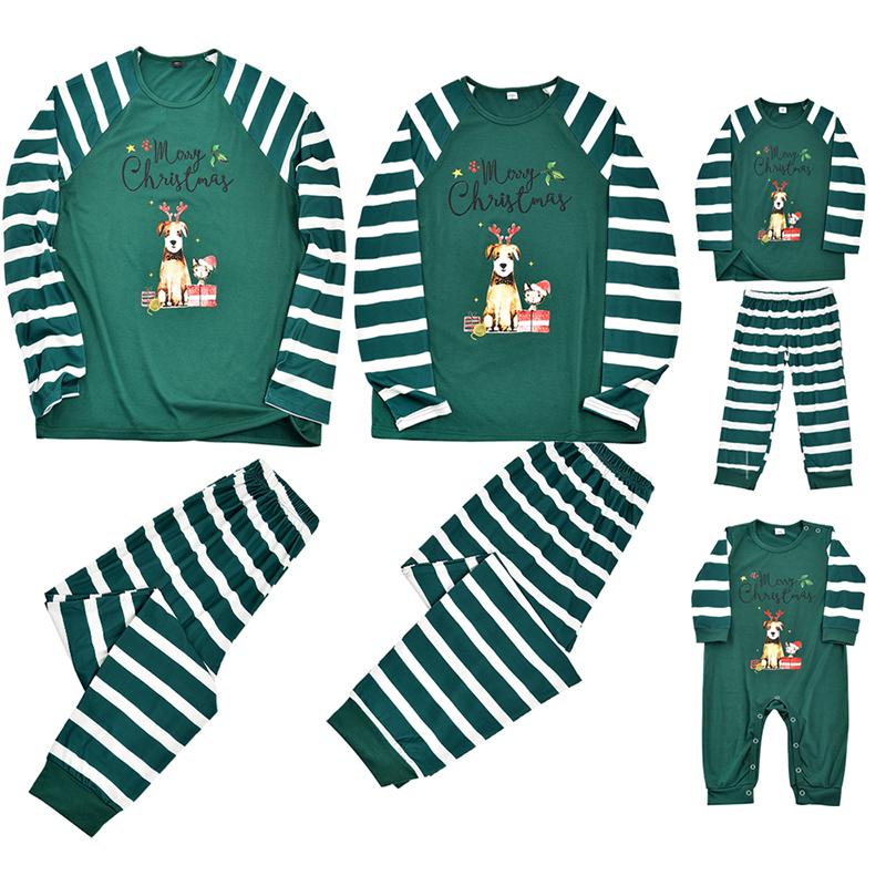 Christmas Family Matching Sleepwear Pajamas Sets Green Stripes Pet Slogan Sets