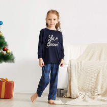 Toddler Kids Boys and Girls Christmas Pajamas Let It Know Slogan Top and Navy Plaid Pant Set