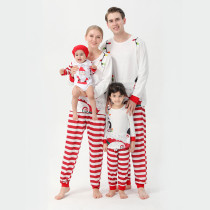 Christmas Family Matching Sleepwear Pajamas Sets Santa Tops And Red Stripes Pants