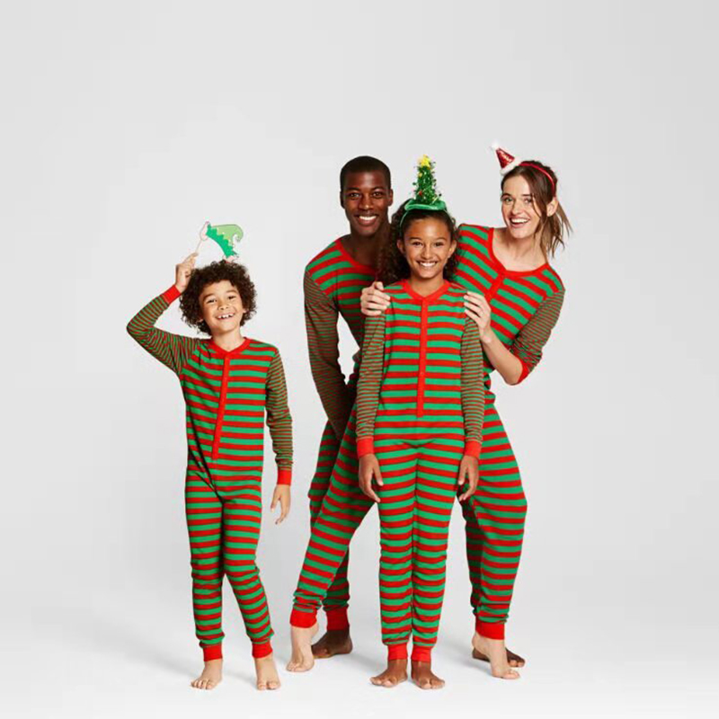 Christmas Family Matching Sleepwear Pajamas Red and Green Strips Jumpsuits Sets