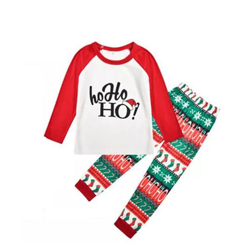 Toddler Kids Boys and Girls Christmas Pajamas White Hohoho Hat Top and Christmas Stocking Pants Sets