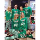 Toddler Kids Boys and Girls Christmas Pajamas ELF Slogan Christmas Hat Top and Green Stripes Pants Sets