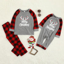 Toddler Kids Boys and Girls Christmas Pajamas Sets Merry Christmas White Antlers and Red Plaids Pants