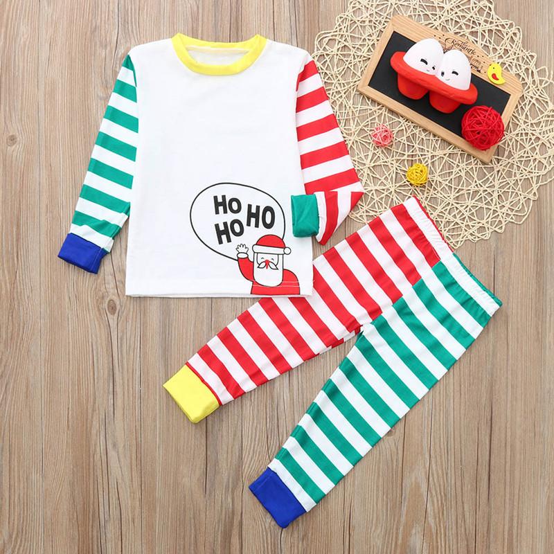 Toddler Kids Boys and Girls Christmas Pajamas Sets Hohoho Santa Claus Stripes Top and Pant