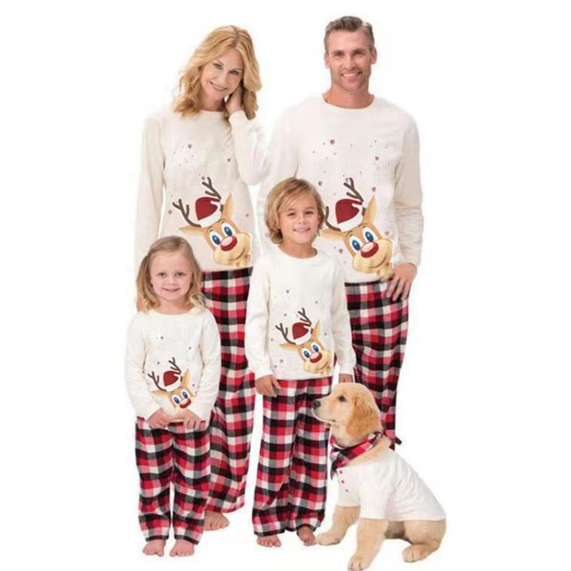 Christmas Family Matching Sleepwear Pajamas Cute Christmas Hat Deer Tops And Plaids Pants