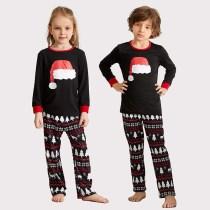 Toddler Kids Boys and Girls Christmas Pajamas Christmas Red Hat Top and Deers Trees Geometrical Pants Sets