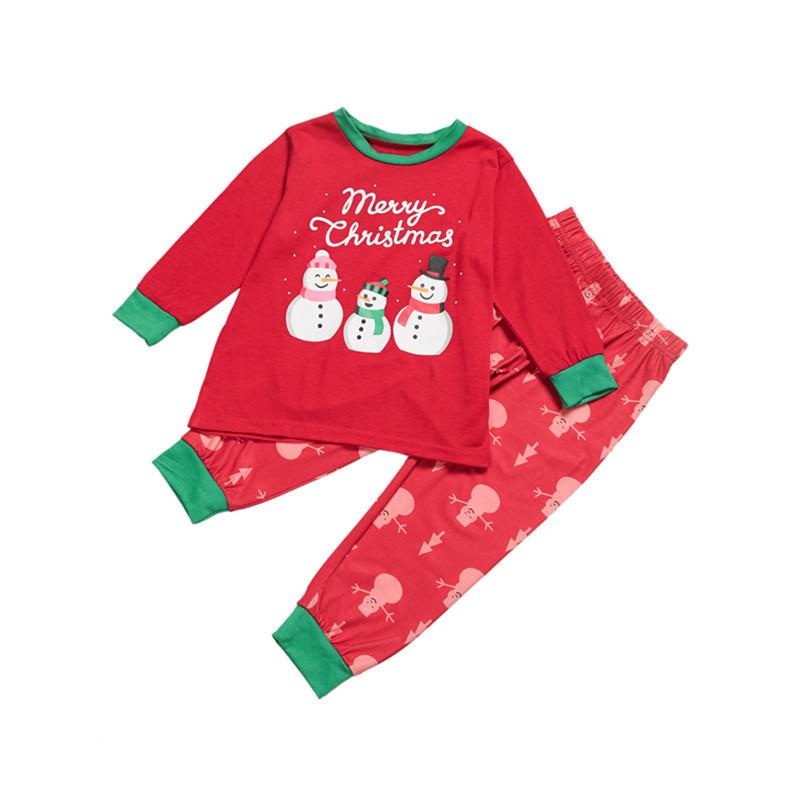 Toddler Kids Boys and Girls Christmas Pajamas Sets Snow Man Red Top and Pant