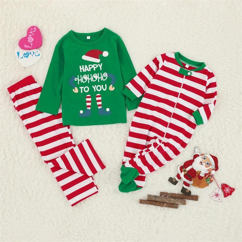 Toddler Kids Boys and Girls Christmas Pajamas Happy ELF Hohoho Top and Red Stripes Pants Set