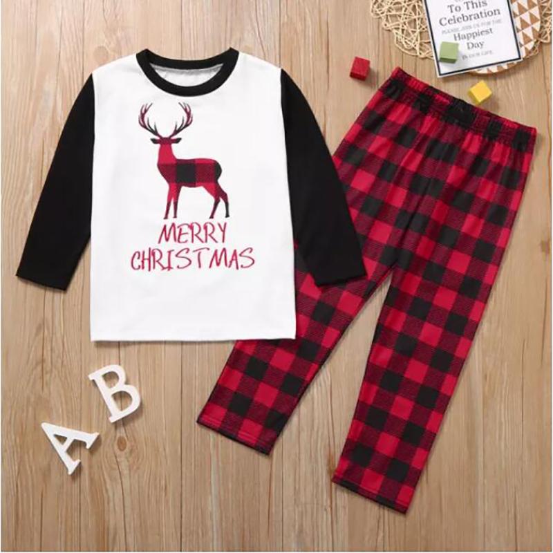 Toddler Kids Boys and Girls Christmas Pajamas Sets Christmas Plaids Deer Top and Pants