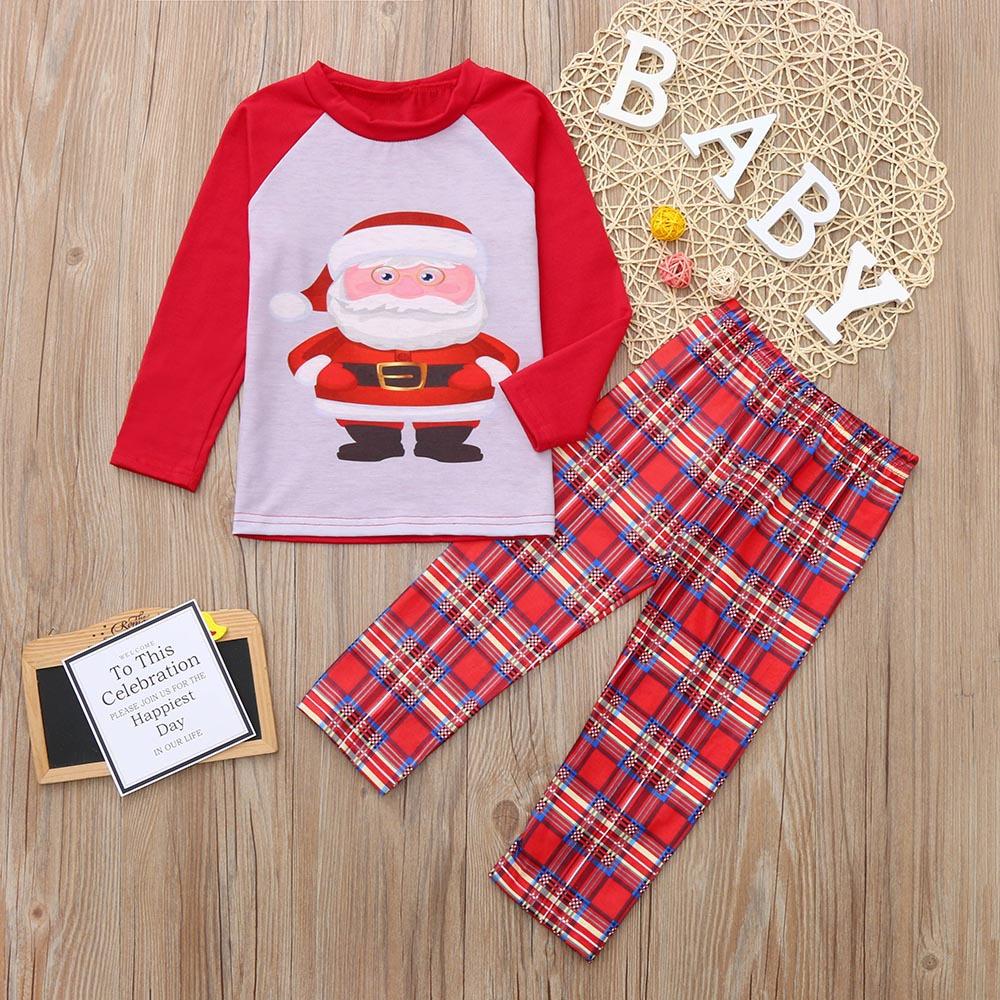 Toddler Kids Boys and Girls Christmas Pajamas Sets Red Santa Claus Top and Plaid Pant