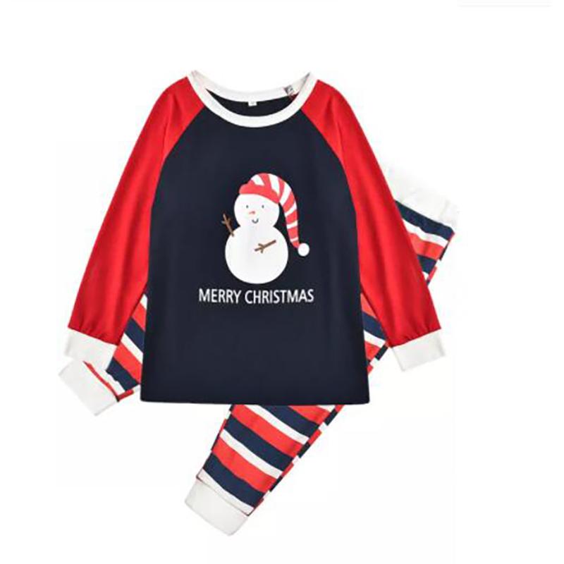 Toddler Kids Boys and Girls Christmas Pajamas Sets Christmas Snow Man Top and Stripes Pants