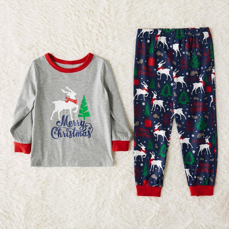 Toddler Kids Boys and Girls Christmas Pajamas Sets Grey Deer Top and Navy Tree Pants