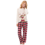 Toddler Kids Boys and Girls Christmas Pajamas Sets White Christmas Deer Top and Red Plaids Pants