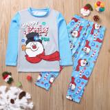 Toddler Kids Boys and Girls Christmas Pajamas Sets Blue Jolly Snow Man Top and Snowflake Pant