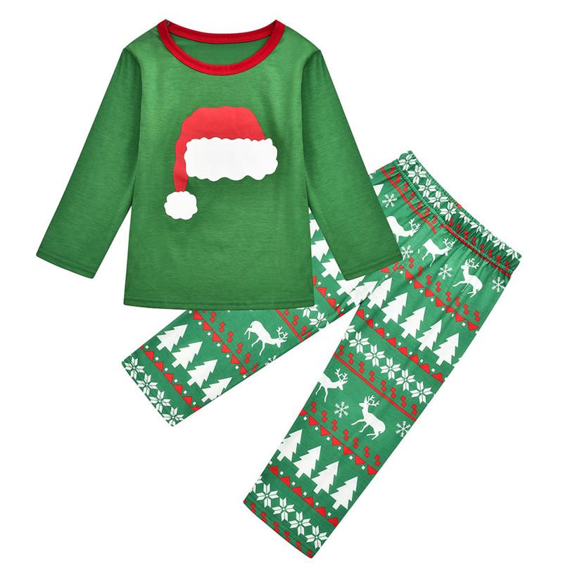 Toddler Kids Boys and Girls Christmas Pajamas Sets Green Christmas Hat Top and Deers Trees Pants