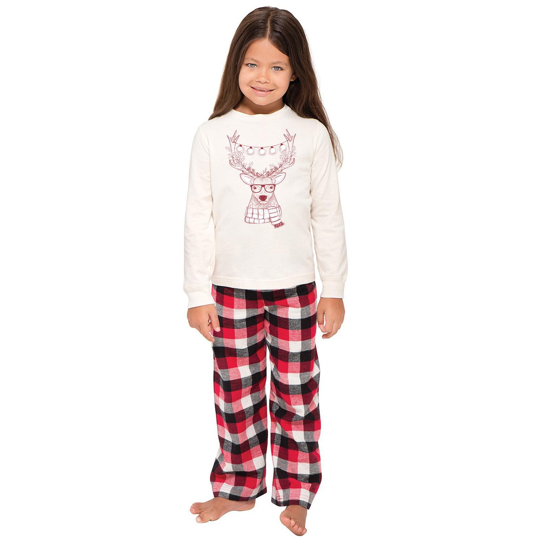 Toddler Kids Boys and Girls Christmas Pajamas Sets Christmas White Deer Top and Red Plaids Pants
