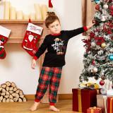 Toddler Kids Boys and Girls Christmas Pajamas Sets EFL Slogan Top and Red Plaids Pant