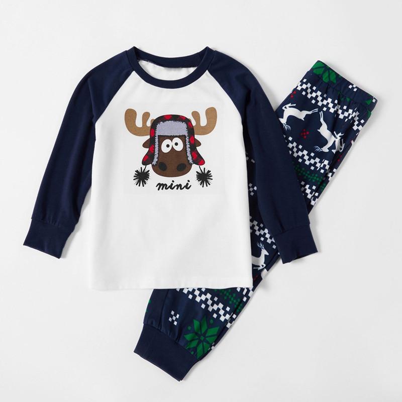 Toddler Kids Boys and Girls Christmas Pajamas Sets Papa Mama Deer Top and Navy Prints Pants