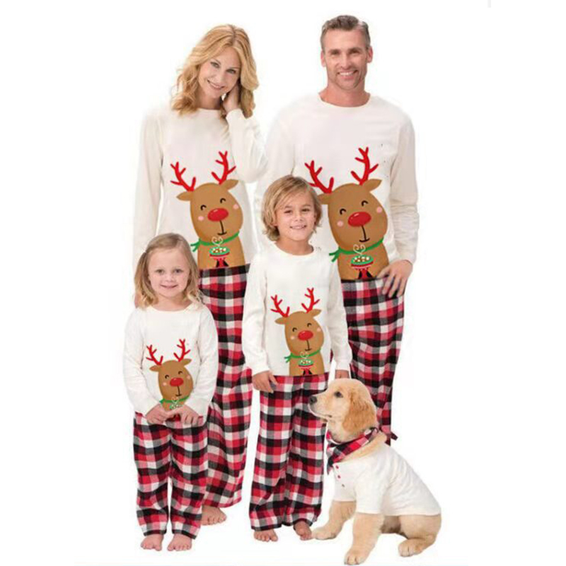 Christmas Family Matching Sleepwear Pajamas Cute Smile Deer Tops And Plaids Pants
