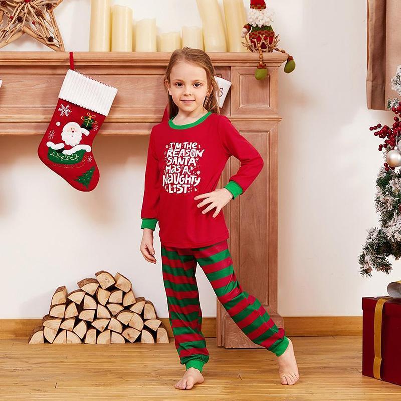 Toddler Kids Boys and Girls Christmas Pajamas Sets Red Slogan Top and Green Stripes Pants