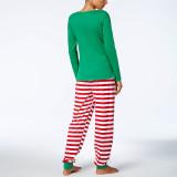 Toddler Kids Boys and Girls Christmas Pajamas Sets Green Slogan Top and Red Stripes Pants