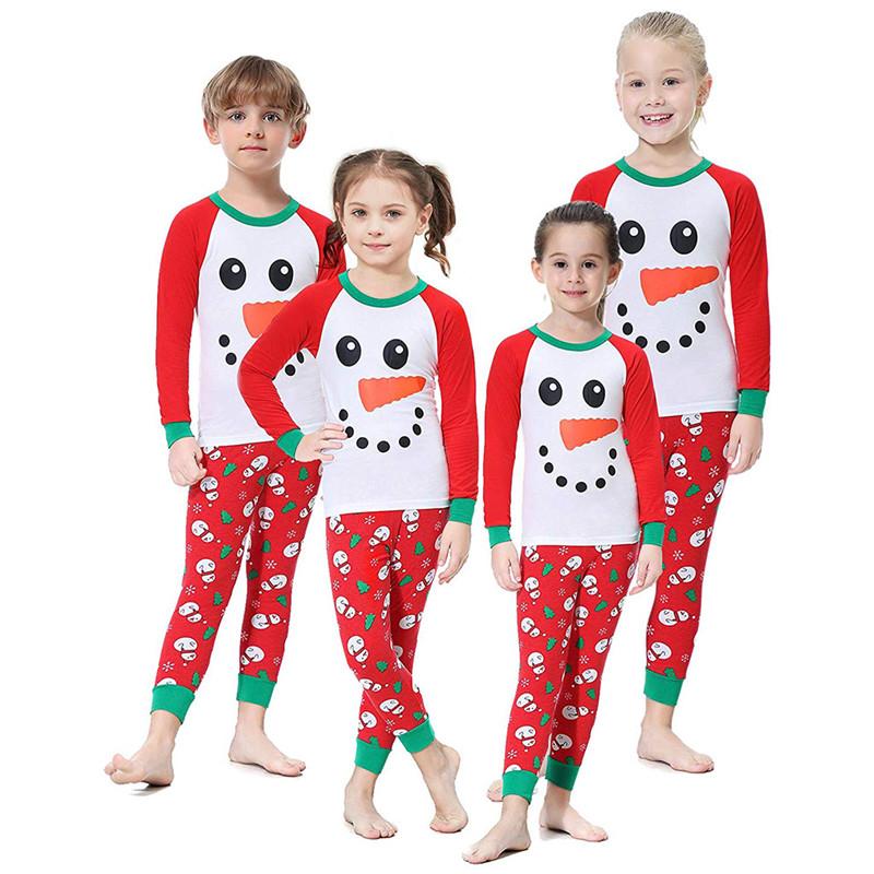 Toddler Kids Boys and Girls Christmas Pajamas Sets Red Snow Man Top and Christmas Trees Pants