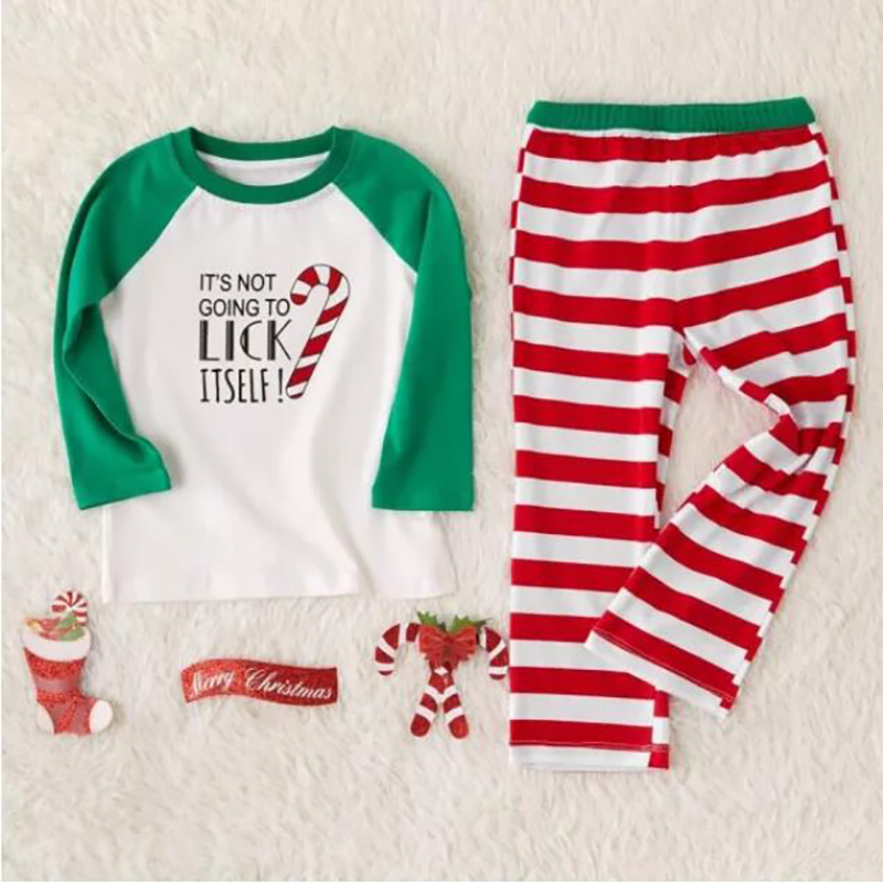 Toddler Kids Boys and Girls Christmas Pajamas Green Slogan Top and Red Stripes Pants Sets