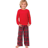 Toddler Kids Boys and Girls Christmas Pajamas Sets Red Top and Plaids Pant