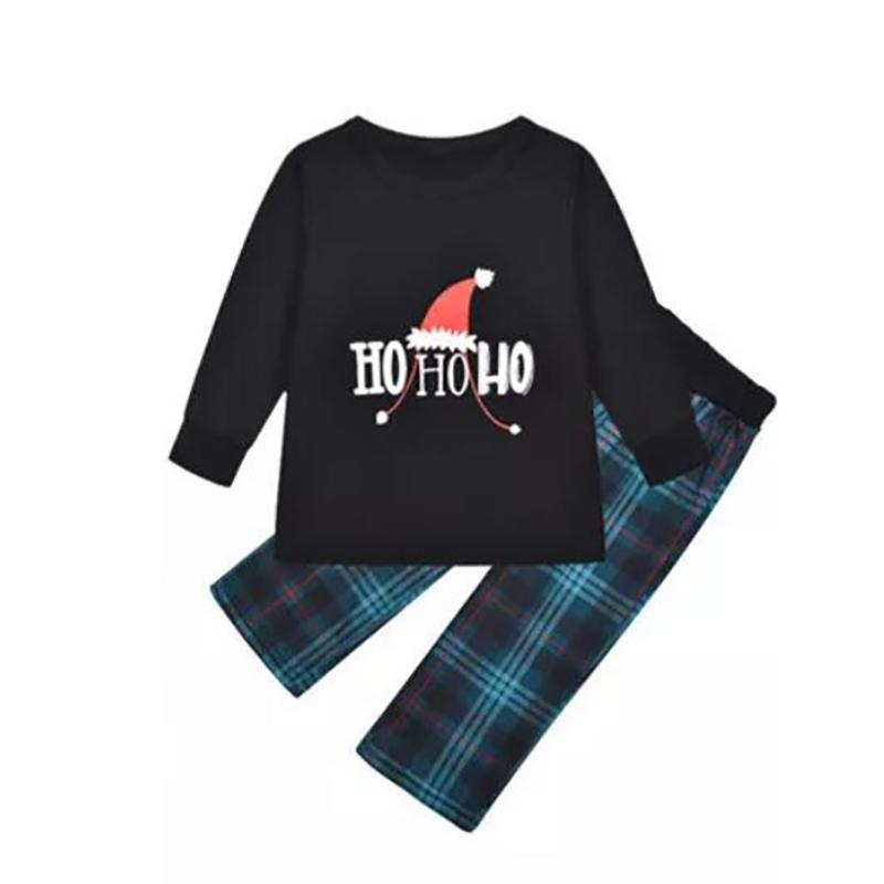 Toddler Kids Boys and Girls Christmas Pajamas Sets Hohoho Red Christmas Hat Top and Navy Plaids Pants