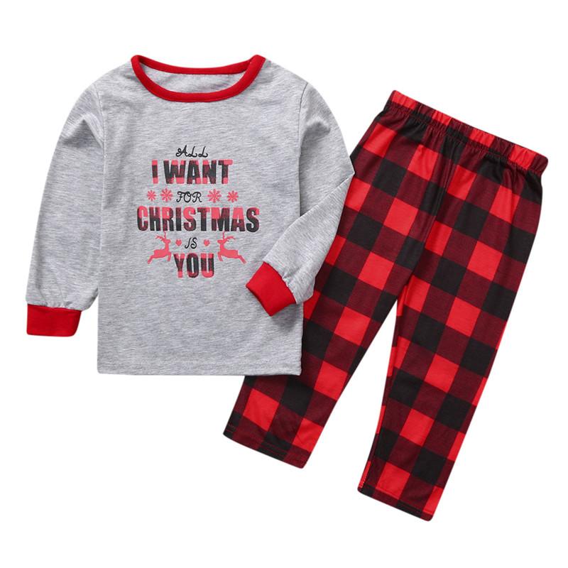 Toddler Kids Boys and Girls Christmas Pajamas Sets Grey Slogan Top and Red Plaid Pants