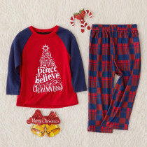 Toddler Kids Boys and Girls Christmas Pajamas Sets Christmas Tree Slogan Top and Plaid Pants