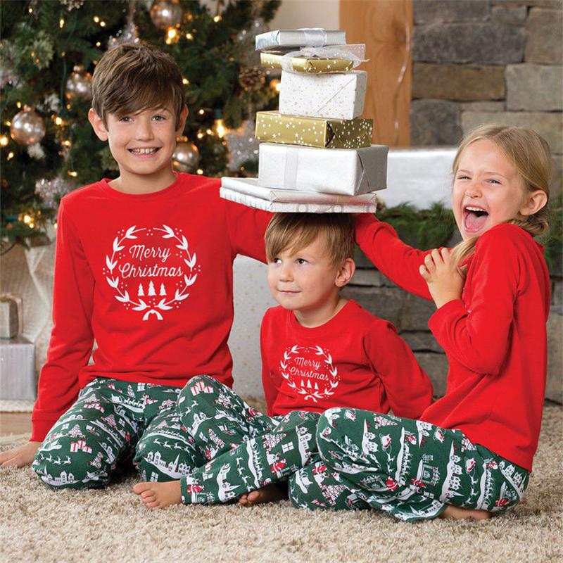 Toddler Kids Boys and Girls Christmas Pajamas Garland Top and Green Gift Box Pants Sets