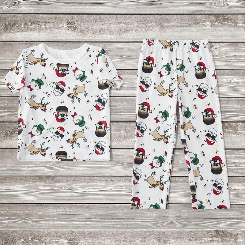 Toddler Kids Boys and Girls Christmas Pajamas Sets White Santa Claus Short Top and Deers Pants