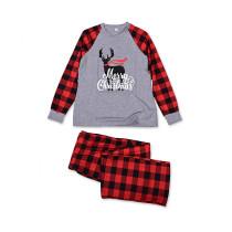 Toddler Kids Boys and Girls Christmas Pajamas Sets Grey Deers Top and Red Plaids Pants