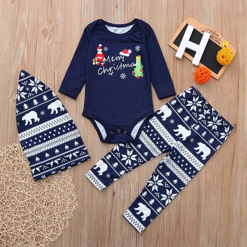 Toddler Kids Boys and Girls Christmas Pajamas Sets Merry Christmas Santa Top and Snowflake Bear Pants