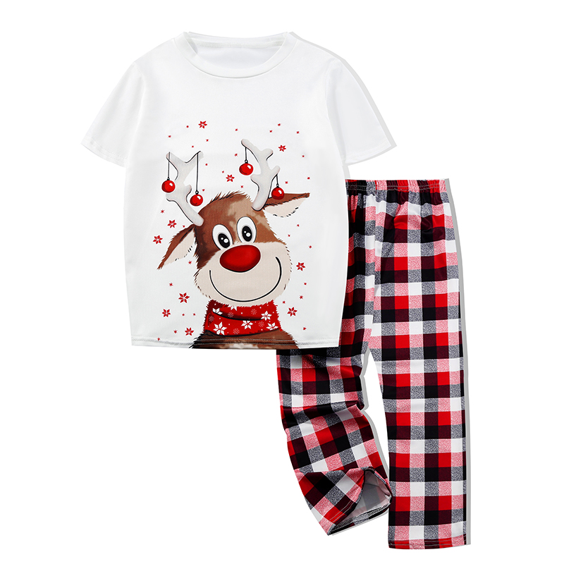 KidsHoo Exclusive Design Toddler Kids Boys and Girls Christmas Pajamas Sets Cute Christmas Deer Top Tshirt and Red Plaids Pants