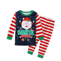 Toddler Kids Boys and Girls Christmas Pajamas Sets Navy Santa Claus Squad Snow Top and Red Stripes Pants