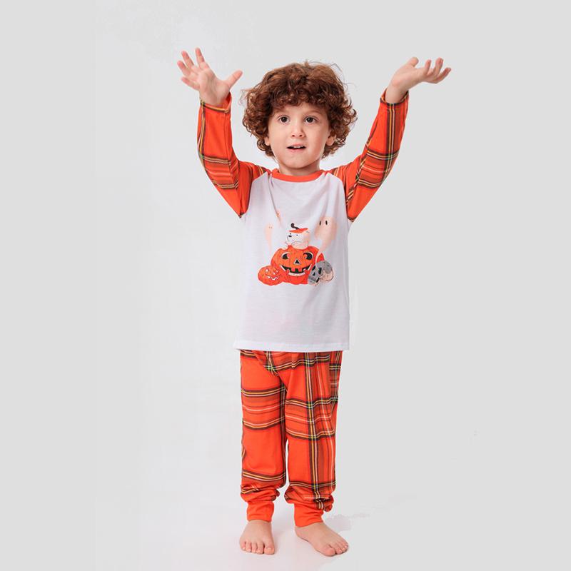Toddler Kids Boys and Girls Christmas Pajamas Sets Prints Pumpkin Ghost Prints and Plaid Pants