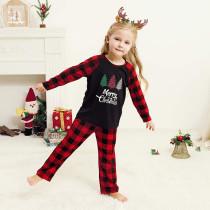 Toddler Kids Boys and Girls Christmas Pajamas Sets Plaids Trees Top and Red Plaid Pants