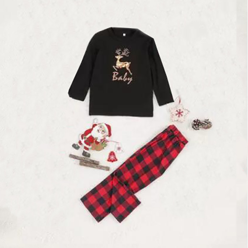 Toddler Kids Boys and Girls Christmas Pajamas Sets Black Deers Top and Red Plaid Pants