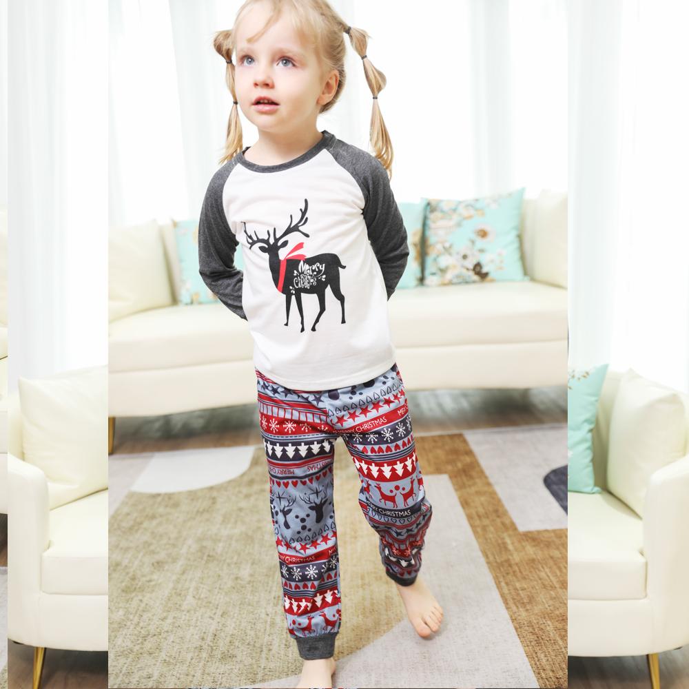 Toddler Kids Boys and Girls Christmas Pajamas Sets Deers Top and Grey Deers Trees Pants
